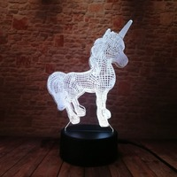 3D Creative Luminaria Unicorn LED Table Lamp Lantern 7 Color Change Night light Lampe Led Cartoon Usb Light Xmas New Year Gifts 5