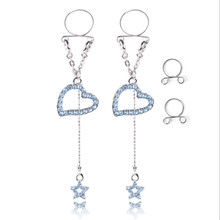 New Fashion Stainless Steel Blue Crystal Heart Non pierced Clip On Nipple Rings Women Fake Nipple Dangle Adjustable Body Jewelry