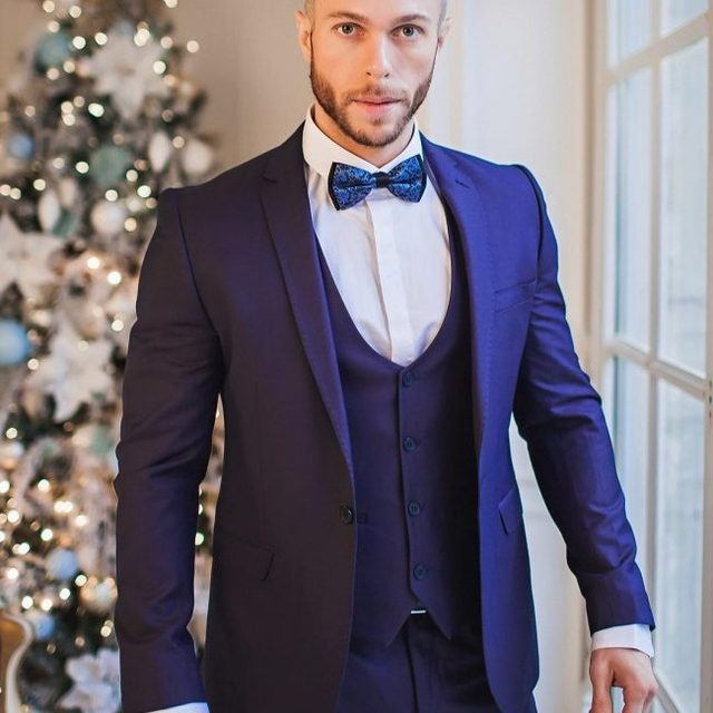Pantalones azul marino boda Trajes para hombres chaqueta terno slim fit 3  unidades smoking del novio a9290b6be3b