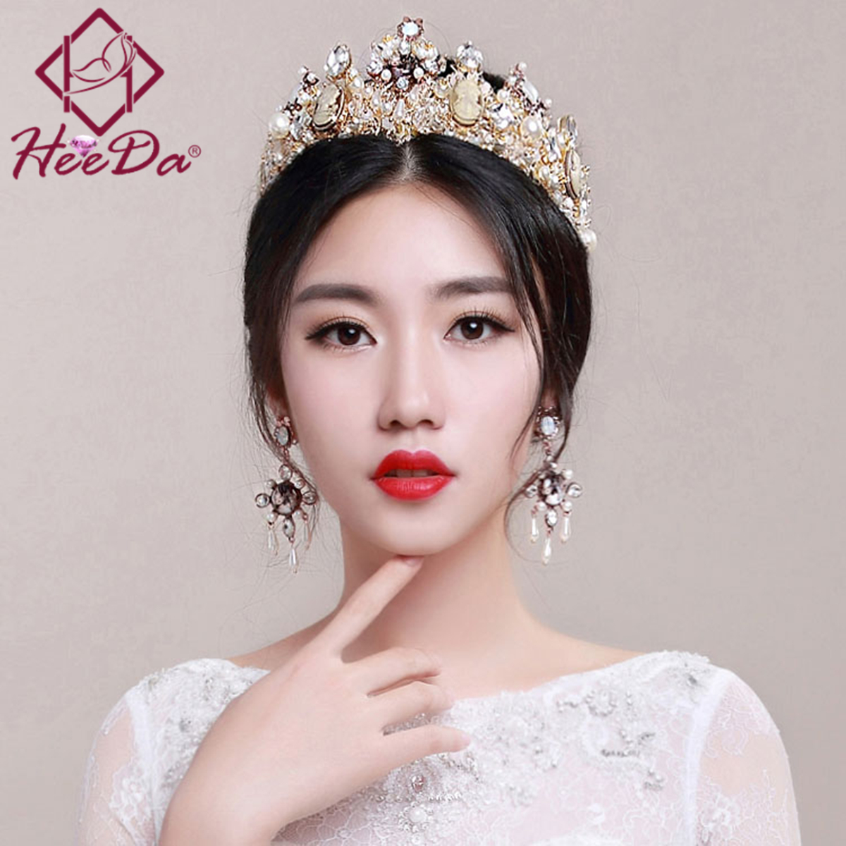 Bride Retro Style Crown Earrings Set Marry Elegant Crown Hair Decorations Sweet and Romantic High-end Wedding Jewelry Set