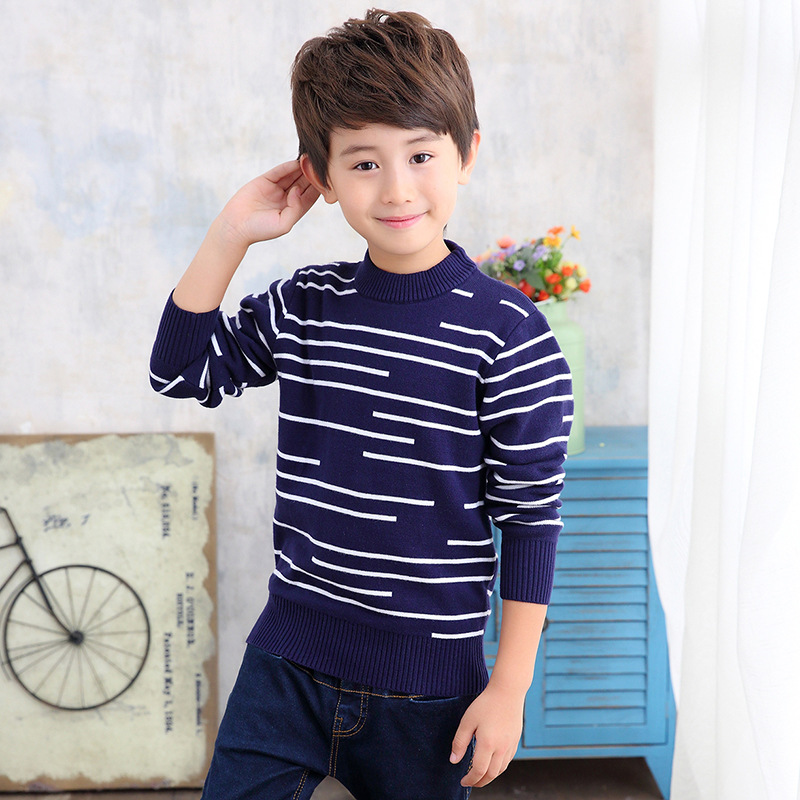 2018 New Baby Boys Knitting Sweater Autumn Winter Kids Long Sleeve Casual Striped O-neck Pullover Top Boys Warm Thick Sweater цена 2017