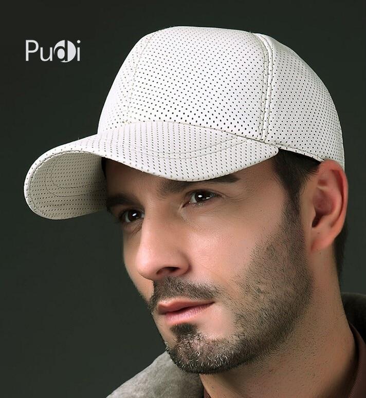 Pudi HL013 Herren echte Leder Baseball Cap Hut 2017 brandneue Jungen echte Leder Baseball Caps Hüte schwarz weiß braun Farbe