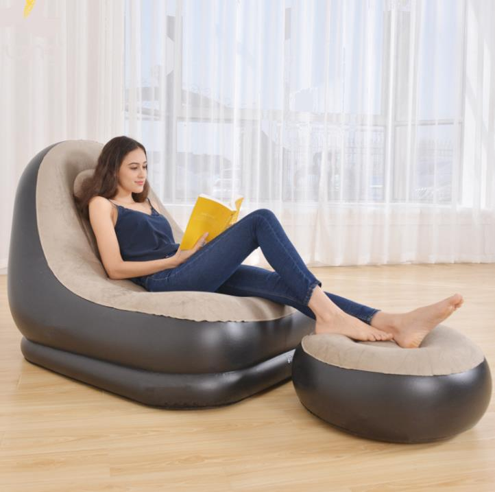 Superb Us 28 6 Inflatable Furniture Chair Sofa Lounger With Ottoman Foot Stool Rest Single Couch Beanbag Living Room Outdoor Air Lounge Chairs In Living Alphanode Cool Chair Designs And Ideas Alphanodeonline