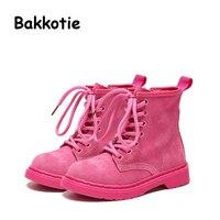 Bakkotie 2017 סתיו עור אמיתי נעלי נערת אופנה תינוק ילד קרסול מרטין ילד ילד פעוט מותג רך עלה אדום הרבעה