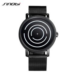 SINOBI Creative Men Watch Luxury Quartz Watch Mens Black Stainless Steel Wristwatch Relogio Masculino 2018 Male Clock #9630