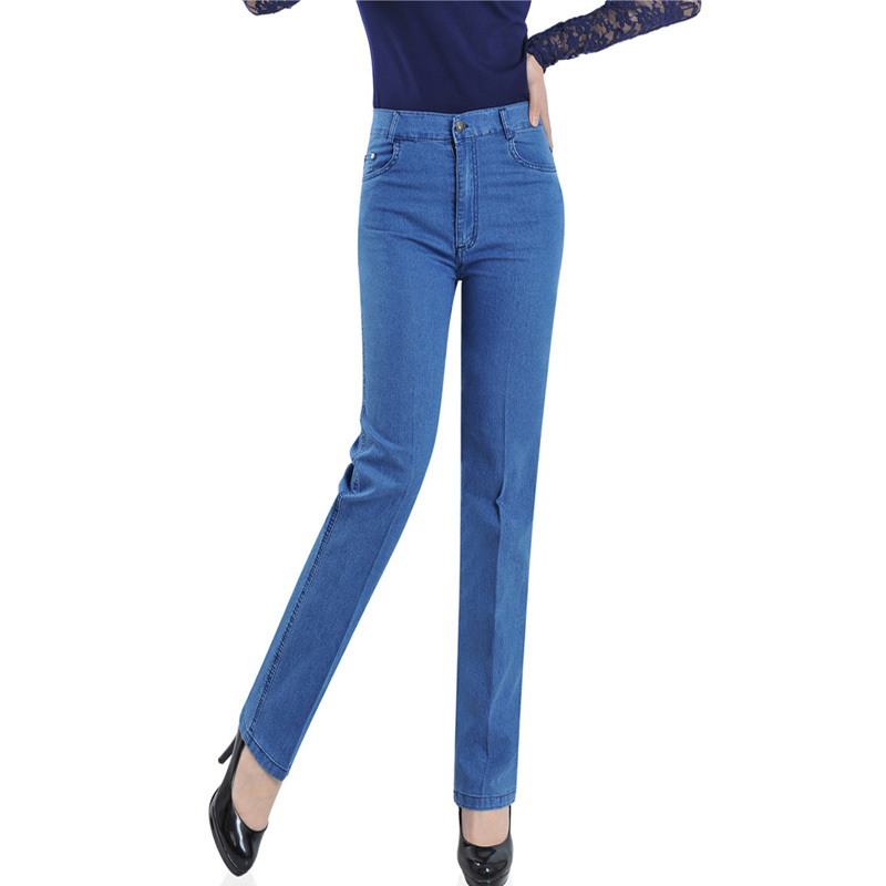 Slim   Jeans   For Women Skinny High Waist   Jeans   Woman Denim Straight Pants Stretch   Jeans   Blue Trousers Calca Feminina