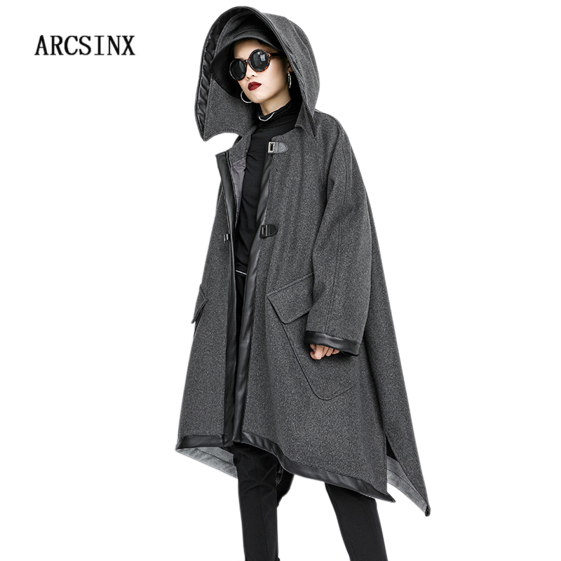 ARCSINX プラスサイズジャケット女性 5XL 10XL 9XL 8XL 7XL フード付き秋の冬のジャケット女性の女性のファッションジャケット女性  グループ上の レディース衣服 からの ベーシックジャケット の中 1
