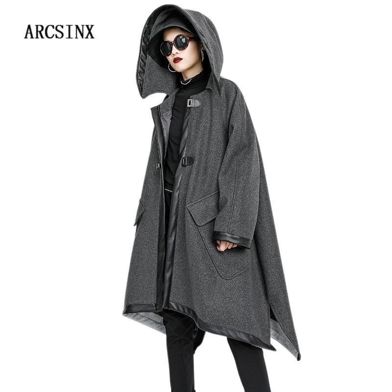 ARCSINX talla grande chaqueta mujer 5XL 10XL 9XL 8XL 7XL chaqueta con capucha Otoño Invierno para mujer abrigo largo mujer moda chaquetas de las mujeres-in chaquetas básicas from Ropa de mujer    1
