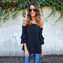 Women Summer casual Fashion butterfly three quarter sleeve off shoulder sexy blouse spaghetti strap solid loose shirt blouse