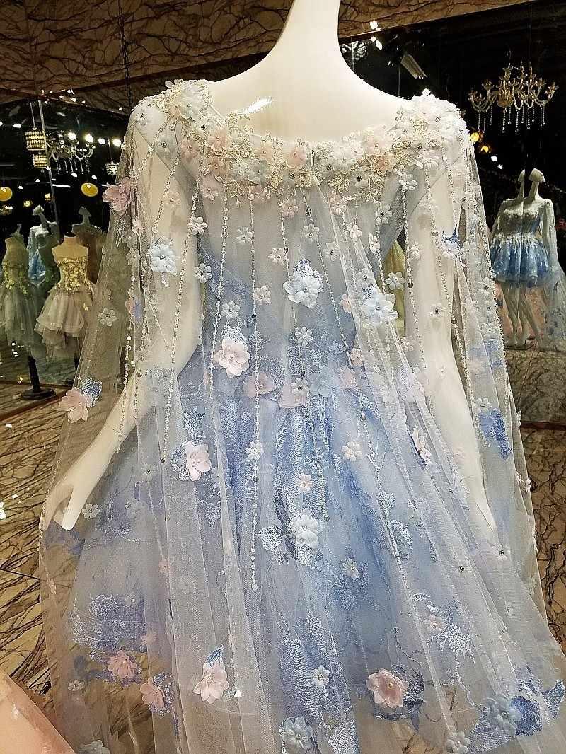 Korte Avondjurk Met Lange Cape Lace Up Back Applicaties Roze En Blauw Prom Dresses Abendkleider 2020 Echte Foto 'S