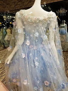 Image 4 - Vestido de noche corto con capa larga de encaje hacia arriba apliques de espalda rosa y azul vestidos de fiesta abendkleider 2020 fotos reales
