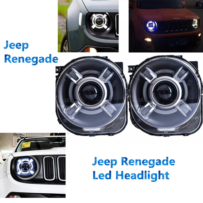 JeeeP Renegade Car LED Light HID Headlight Projector with DRL & Bi-Xenon Lens Headlamp For 2015 2016 2017 Jeeep Renegade xenon headlamps for santa fe 2006 2010 headlamp with bi xenon projector v1headlights