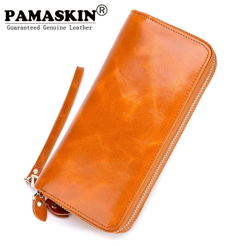 PAMASKIN Long Double Zipper Women Organizer Wallets 100% Luxurious Oil Wax Genuine Leather Large Capacity Female Clutch Purses