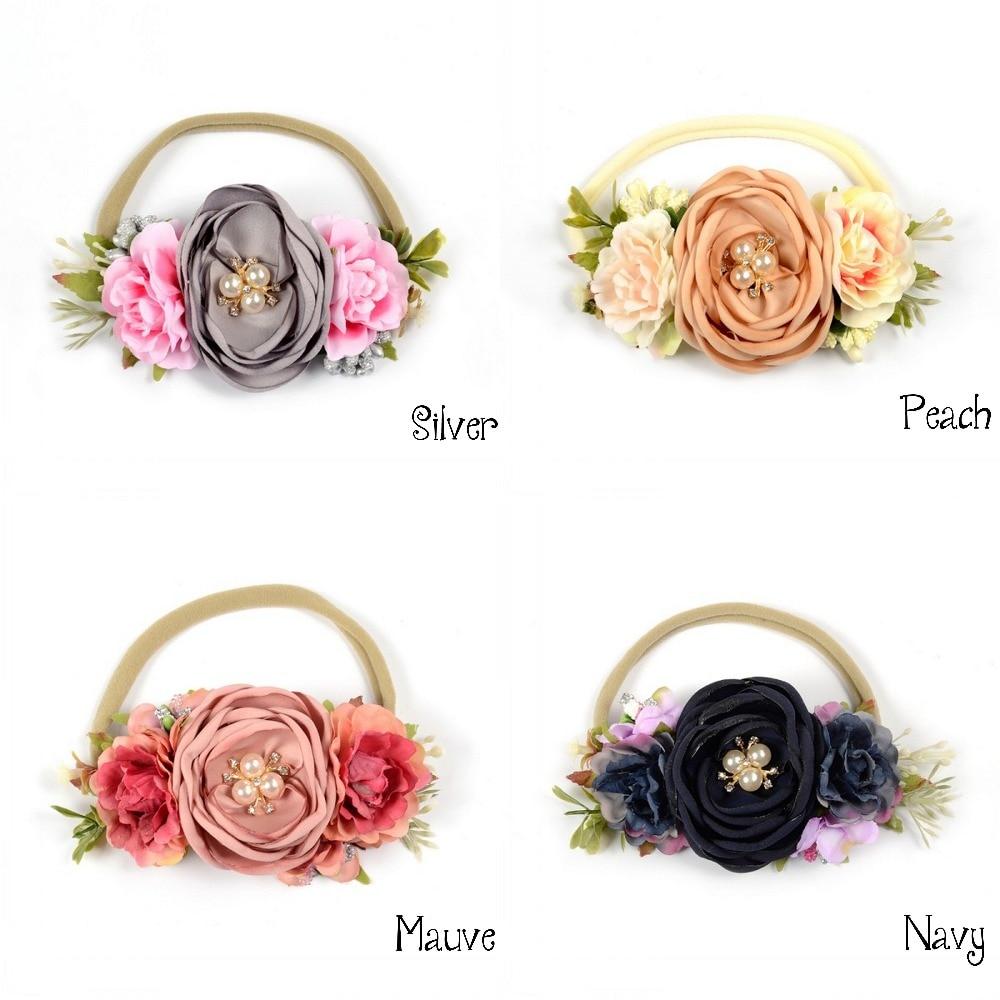 Baby Girls' Flower Headband Sweet Hair Accessories Handmade Infant Kids Gifts Vintage Hair Band Princess Headwear Pearl Heaband