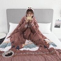 1 個怠惰なキルト袖暖かい厚く多機能家庭用冬用昼寝 J2Y