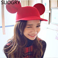 New 2015 Brand Fashion Cute Cats Mouse Hats For Women Big ears Fedoras Ladies Chapeu Feminino Cashmere Caps Female Free Shipping