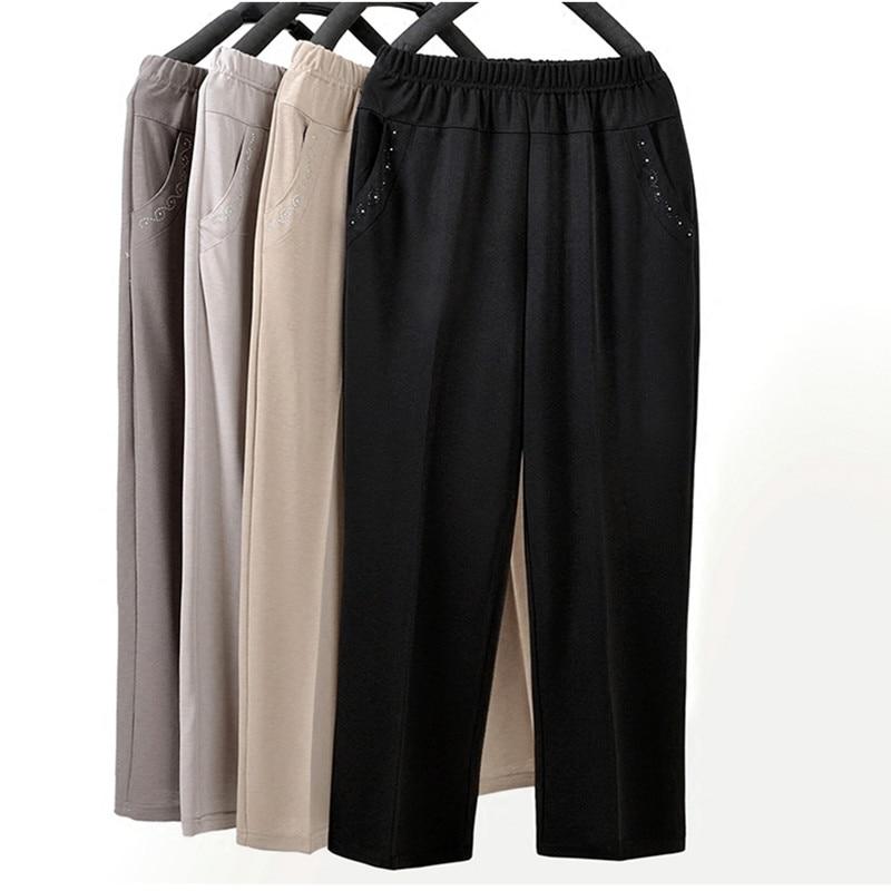 Middle-aged Women Straight Pants Fashion Casual Elastic Waist Loose Pants Large Size Grandma Female Summer Solid Nine Pants 5XL