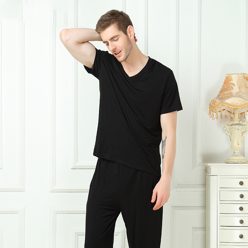 Pajamas Men Sleep-Top Short-Sleeve Summer With Bamboo-Fiber And 2pieces-Set Soft Spring