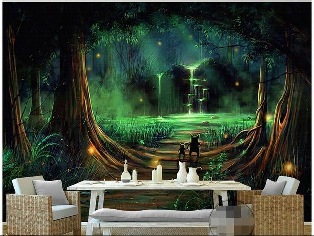 3d Wallpaper Custom Photo Non Woven Mural Forest Waterfall Water Animals  Decoration Painting Bedroom Wallpaper