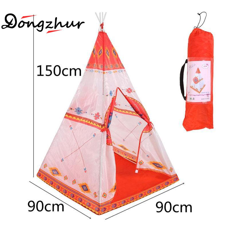 Red 90*90*150cm Print Children Toy Tent Teepees Safety Tipi Portable Indoor Game Tents Outdoor Tente Enfant Playhouse for Kids yard indian pattern children toy tent teepees safety tipi portable playhouse kids teepee tents