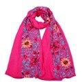 Lenço das Senhoras Das mulheres Outono Inverno Moda Longo Grande Hijab Lenços Bordados Floral Viscose Xale Vindima Y4