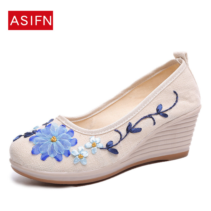 8dea5ad3612 Flowers Women Shoes Woman Platform Wedges 2018 Embroidered Loafers Casual  Slip On Vintage Creepers Flats Sneakers Canvas Shoes-in Women's Flats from  ...