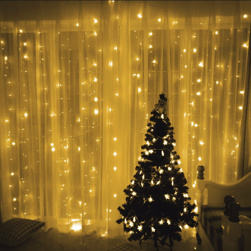 2x2/3x1/3x2/3x3 Led Curtain String Lights Icicle Christmas Fairy Lights For Wedding Party Garden Decoration Outdoor Garlands