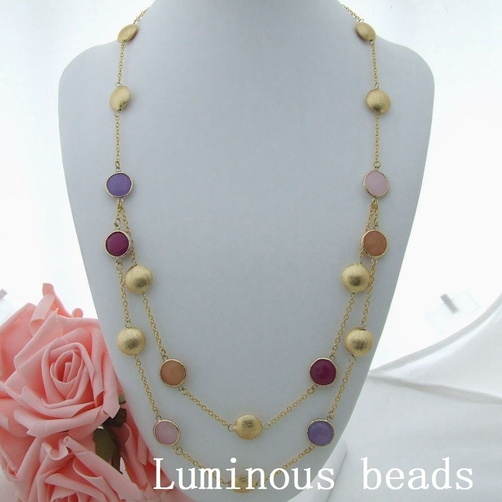 GE032708 29-31 2 Strands Multi Color Fittings Necklace ...