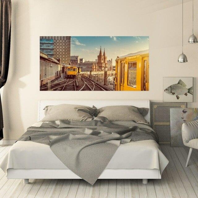 Настенный стикер на кровать, городской поезд, метро, украшение для спальни, ПВХ