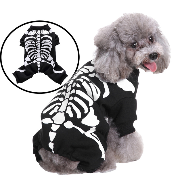 Pet Skull Skeleton Sweater Cosplay Costumes For Halloween Christmas Suit Clothes Dogs Cats Costume