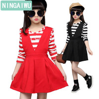 New girls children's clothing casual dress autumn baby kids outfit child stripe long sleeve princess dress two-piece 5 - 12 T
