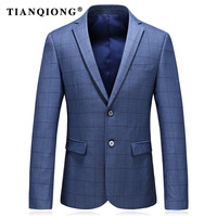 TIAN QIONG 2018 Spring New Arrival High Quality Plaid Casual Suits Men Blue Sasual Men S