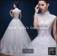2016 New Design Ball Gown High Neck Wedding Dress Cap Sleeve Modest Winter Wedding Gowns Back