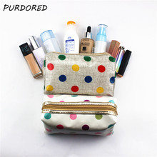 PURDORED 1 pc Colorful Dot Makeup Bag PVC Cosmetic Bag Laser Makeup Case Organizer Travel Beauty Toiletry Bag Dropshipping