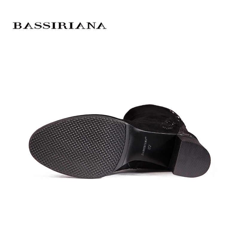 Over-the-diz Hakiki deri çizmeler kadın Kış ayakkabı kadın Siyah süet Zip 35-40 Yüksek kaliteli ücretsiz kargo BASSIRIANA