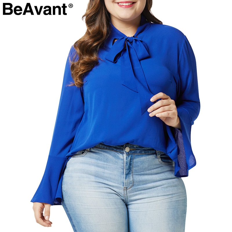 BeAvant Plus size long sleeve   blouse     shirt   women O neck bow tie up ladies chiffon   blouse   Loose fashion summer top female blusas