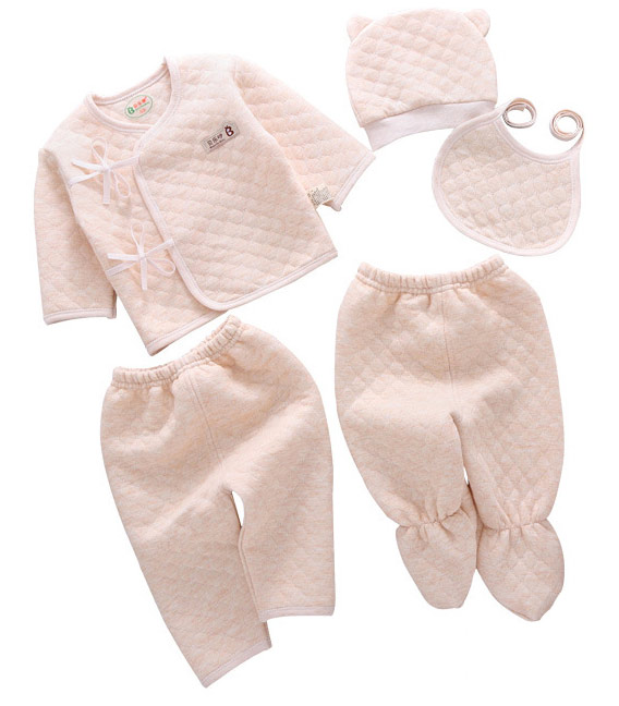 Newborn Baby Boys Girls 5pcs Clothing Sets 1 Minicoat+2 Pants +1 Cap +1 Bib New Born Infant Coat Autumn Winter Clothes Set