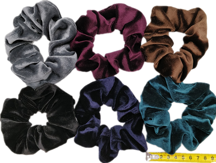 6 шт/лот Бархатные эластичные резинки для волос, резинки для волос для девочек, не складываются, леопардовые женские большие мелкие блестки из шифона с цветочным рисунком - Цвет: PJ051-A-6PCS
