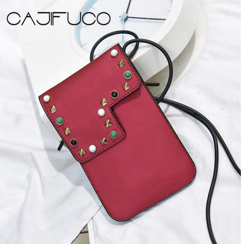 CAJIFUCO Women Spikes Crossbody Bags Soft PU Leather Rivet Telephone Bag Vintage Style Mini Coin Purse Bag Lady Bolsos Mujer pop relax hexagon jade tourmaline germanium stone jade cervical pillow pr p002 massage relaxant cervical tourmaline pillow hot