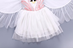 Летние Детские платья для девочек, платье с лебедем для детей, кружевное платье с крыльями ангела, детское платье, костюм фламинго, платье пр...