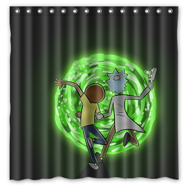 Bath Polyester Fabric Waterproof Shower Curtain Rick and Morty ...