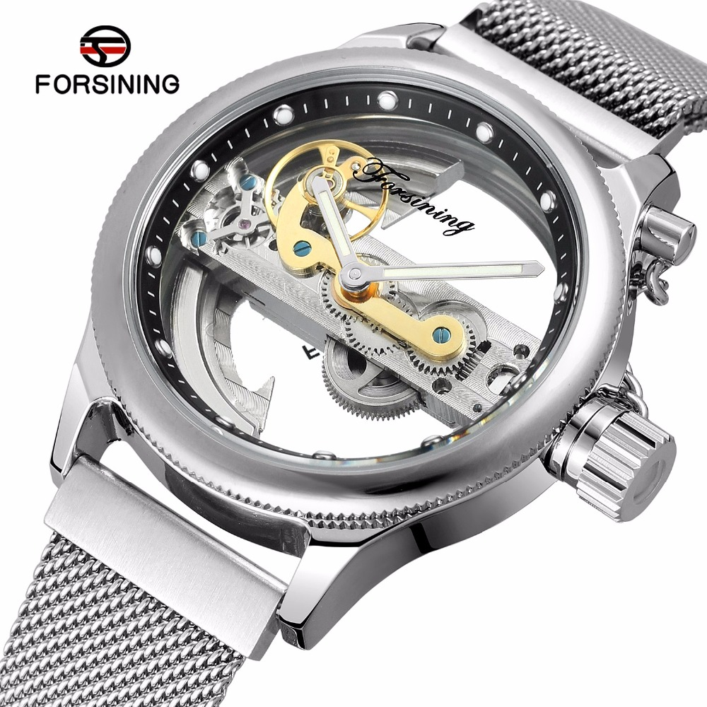FORSINING Designed Button Hollow Skeleton Mechanical Watch Men Silver Mesh Stainless Steel Self Wind Silver Automatic Watch ysdx 398 fashion stainless steel self stirring mug black silver 2 x aaa