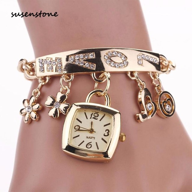 Susenstone Fashion Women Love Rhinestone Chain Gold Silver Bracelet Clock Square