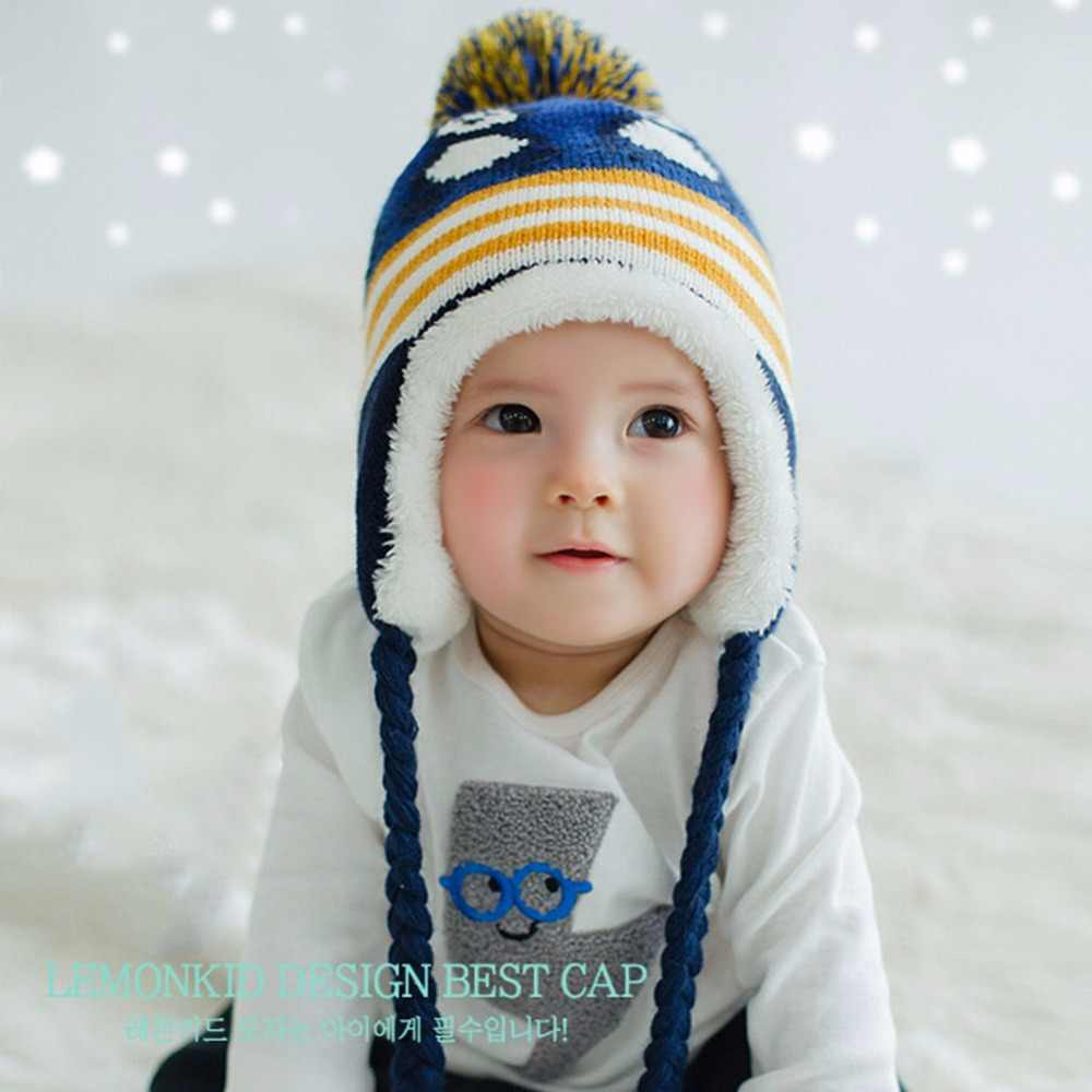 d0061711816 Baby Toddler Ear Protection Cap Penguin Pattern Hat Earflap Knitted Caps  for Boy Girl Kids Winter