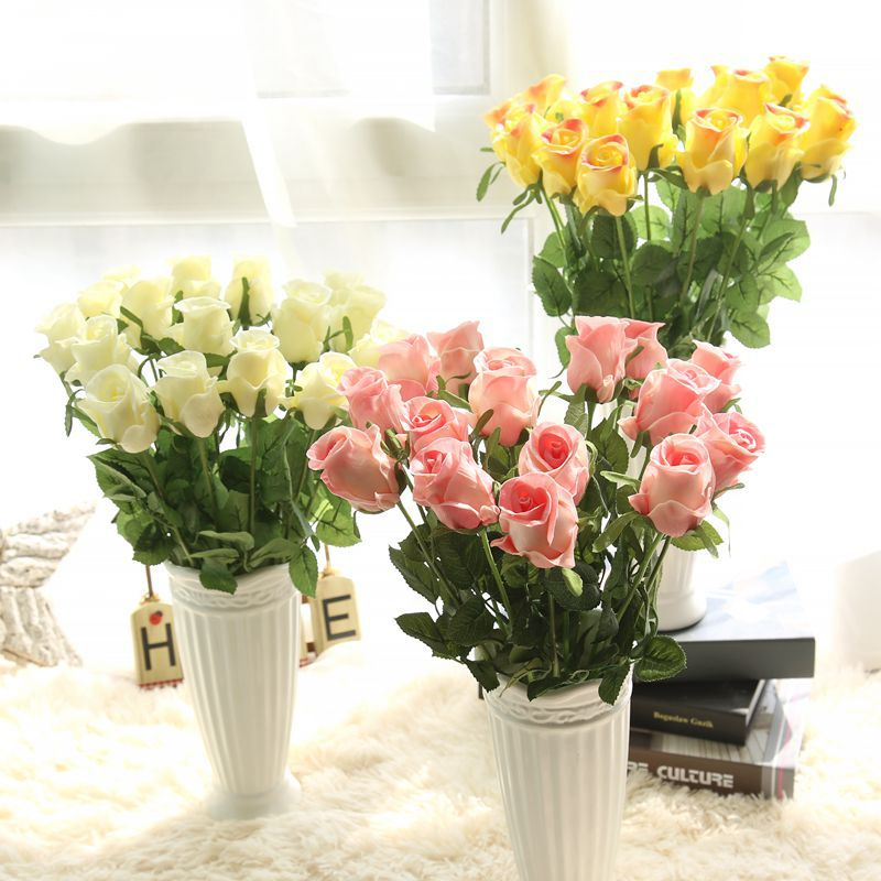 48cm Artificial Rose Flower Pink/blue/green/red/yellow/white PU Fake Decorative Roses Flower for Wedding Home Party Decoration thumbnail