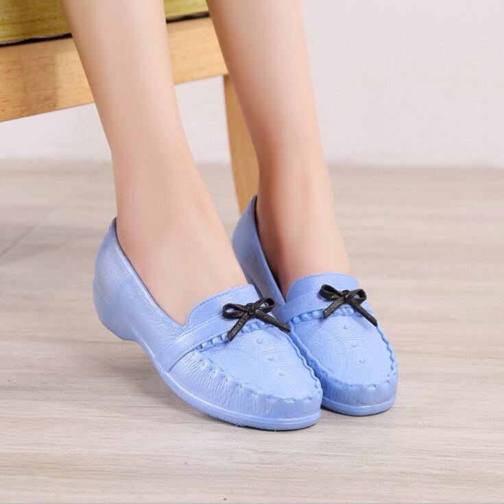 Rouroliu Women Non-Slip Shallow Rain Shoes Waterproof Flat Platform Shoes Autumn Bowknot Ankle Water Shoes Wellies FR50