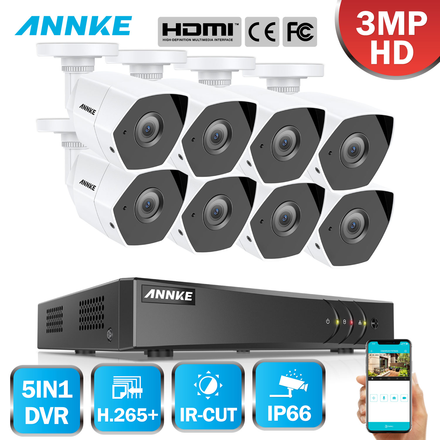 ANNKE HD 8CH 3MP 5in1 H 265 CCTV Security System 3MP 8PCS Smart IR Cut Night
