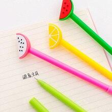 4 pcs/lot Creative Fruit Gel Pens 0.38mm Watermelon Lemon Neutral Pens for Writing Kids Novelty Gifts Office School Stationery sothys invigorating shower gel lemon