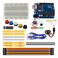 Starter Kit 400 Breadboard LED Jumper Wire Button Resistor 10K Ohm Photoresisto Buzzer SG90 Servo For Arduino UNO R3 USB Cable