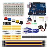Starter Kit 400 Broodplank LED Doorverbindingsdraad Knop Weerstand 10 K Ohm Photoresisto Buzzer SG90 Servo Voor Arduino UNO R3 USB kabel